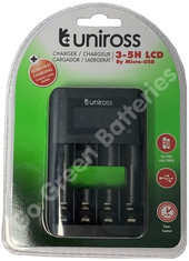 Uniross UCU002 Battery Charger, 3-5h LCD Micro USB