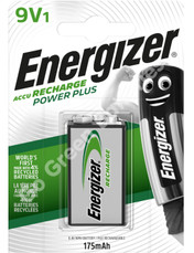 Energizer 9V PP3 175 mAh NiMH Power Plus Rechargeable Battery (HR22). 1 Pack