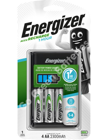 Energizer 1 Hour Charger + 4 x AA 2300 mAh Rechargeable Batteries, Pre Charged.