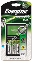 Energizer Maxi Charger + 4 x AA 1300 mAh Rechargeable Batteries, Pre Charged.