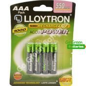 LLoyton AAA 550 mAh NiMH Rechargeable Batteries  4 Pack