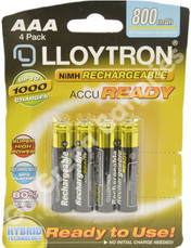 LLOYTRON AAA Accu Ready 800mAh pre-charged pack of 4