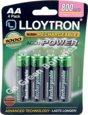LLoytron AA 800 mAh NiMH Rechargeable Batteries. 4 Pack
