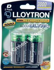 Lloytron D 3000 mAh NiMH Rechargeable Batteries (HR20). 2 Pack