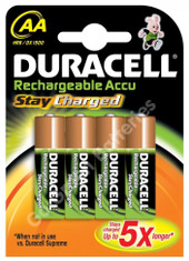 Duracell AA 2000 mAh NiMH Rechargeable Batteries, Stay Charged. 4 Pack (DUR-AA-2000-SCx4)