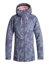 Roxy Women's Valley Hoodie Snow Jacket - Crown Blue Washed Floral