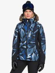 Roxy Women's Jet Ski Premium Snow Jacket Mazarine Blue Striped Leaves - 2021