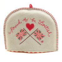 Proud to be British Union Jack Flag Tea Cosy, duck egg blue, red heart, wool