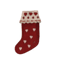 Small red heart Christmas stocking decoration, wool, hand-embroidered