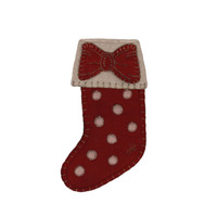 Small red Christmas stocking with a bow, wool, hand-embroidered
