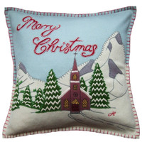 Alpine Church designer cushion, Christmas collection, mountains, snow, wool