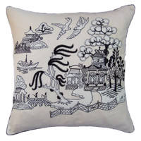 China Black Willow Pattern Cushion