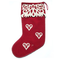 Christmas Fretwork Heart Stocking (Red & Gold)