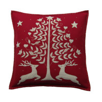 Deers and tree cushion, Christmas collection, red and cream wool