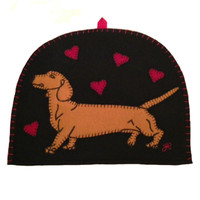 Dog Dachshund Tea cosy, hand-embroidered