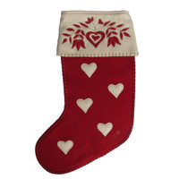 Folklore Heart Christmas Stocking, red and cream wool