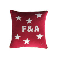 Personalised small cushion, red linen, stars, hand-embroidered