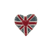 Union Jack Heart Brooch, hand-embroidered, wool