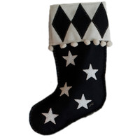 Designer harlequin Christmas stocking, black and cream wool, hand-embroidered