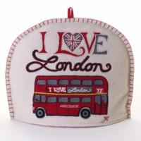 I Love London bus tea cosy, cream wool