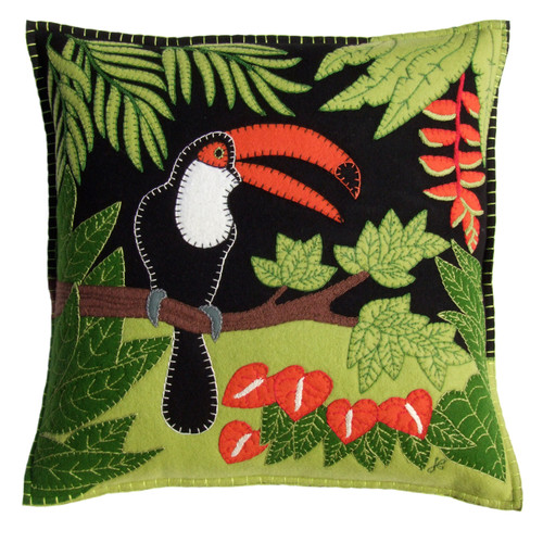 Designer Tropical Toucan, Bird cushion. Luxury hand made black, cream, green and  orange cushion