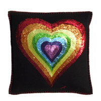 Rainbow heart cushion with red, orange, yellow, green, blue, indigo and violet sequins. Hand embroidered designer cushion
