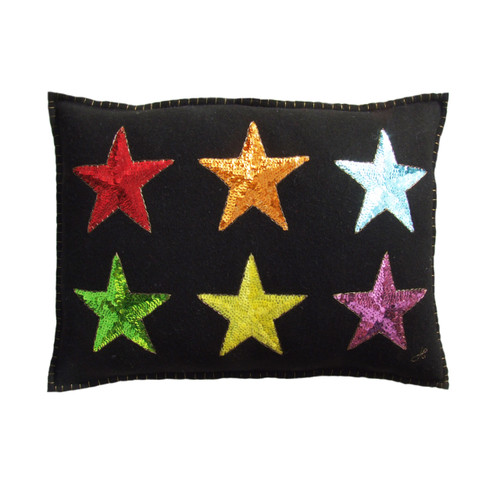 Sequin Rainbow Stars cushion with red, orange, blue, green, yellow and purple sequins