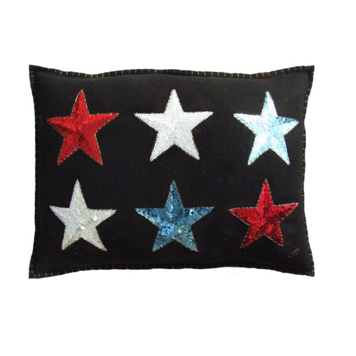 Sequin stars cushion. Red, white and blue stars with antique gold stitching