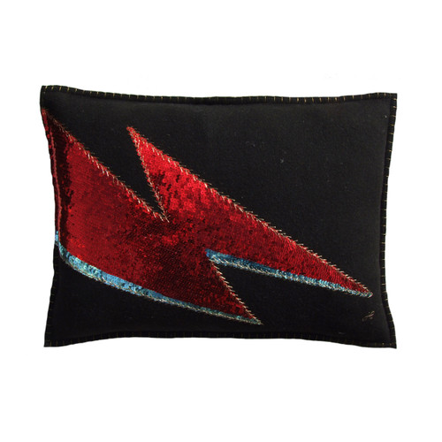 Sequin Glam Rock Ziggy Lightening Bolt cushion. Red and blue sequins with antique gold thread.