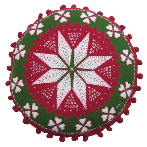 Luxury Round Christmas Fair Isle Cushion. Red,green and cream Alpine star design with french knots, hand embroidered appliqué and pom poms.
