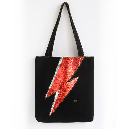 Black, wool, sequin Bowie inspired tote bag