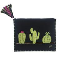 Fiesta Cactus Clutch Bag (Black)