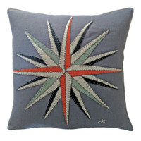 Grey, linen cushion, Compass with cream, navy, orange, duck egg blue motif and navy stitching
