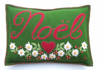 Green wool felt appliqué NOEL cushion, embroidered Edelweiss flowers
