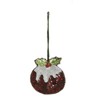Christmas Pudding Sequin Decoration