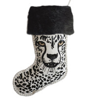 Christmas Cheetah Sequin Stocking (Cream)