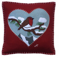 Little Red Robin cushion, hand embroidered, Christmas cushion