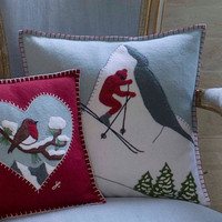 Alpine Skier Man, wool, embroidered cushion, wool, Christmas