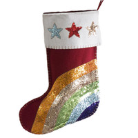 Christmas Rainbow Sequin Stocking (Red)