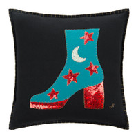 Glam Rock Sequin Boot Cushion (Black)