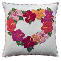 Tropical Hibiscus Cushion (Cream)