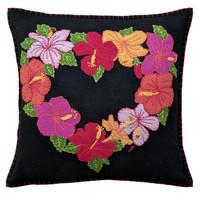 Tropical Hibiscus Cushion (Black)