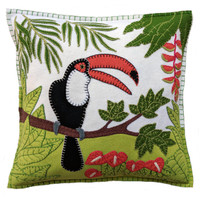 Tropical Toucan Cushion (Cream)