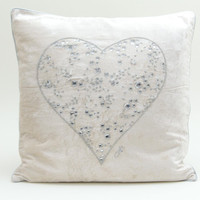 Heart diamante velvet cushion, cream
