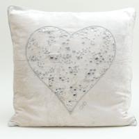 Heart diamante velvet cushion, cream