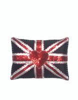 Velvet Glam Rock Sequin Union Jack Cushion (Black)