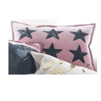 Sequin Six Star Cushion (Pink & Black)