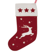 Deers and Star Christmas Stocking (Red)