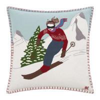 Alpine Skier Girl Cushion (Brunette)