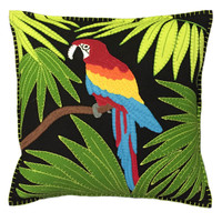 Tropical Parrot Cushion (Black)